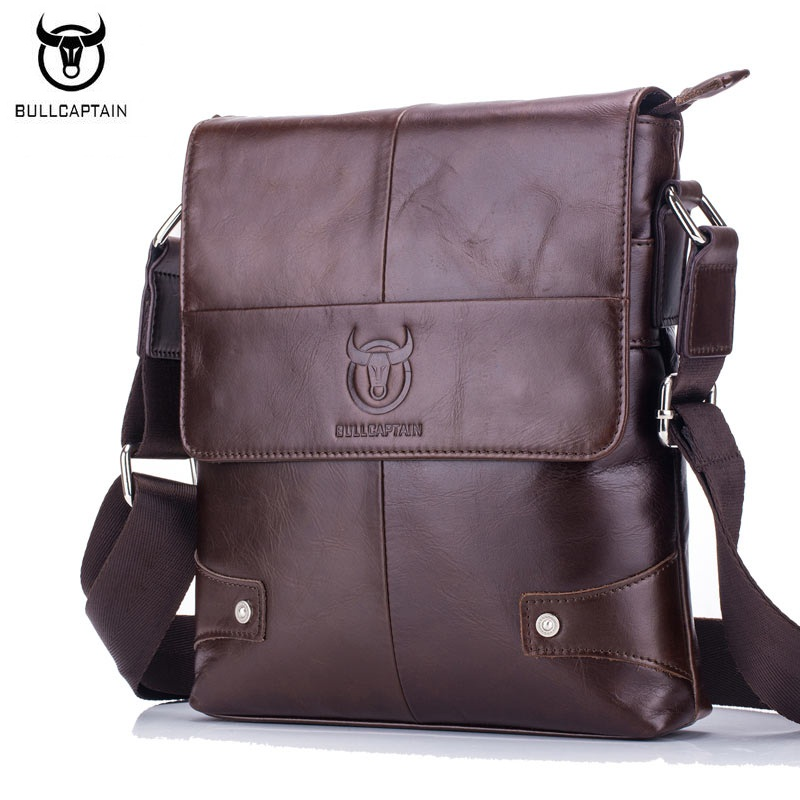 7af9e11d599 BULLCAPTAIN New Arrival 100% Genuine Leather Men's Bag Fashion Vintage Men  Shoulder Crossbody Bags High