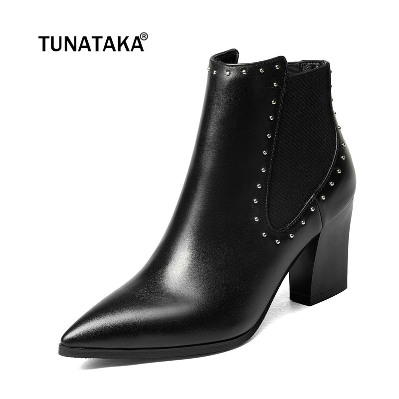 Women Genuine Leather Square Heel Chelsea Ankle Boots Fashion Rivet Pointed Toe Autumn Winter Bootie Black numph платье numph numph 7215820 2buy мультицвет 42