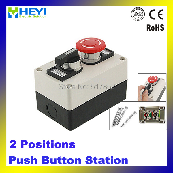 Red Mushroom Emergency Stop 2 Positions Rotary Switch Push Button Station
