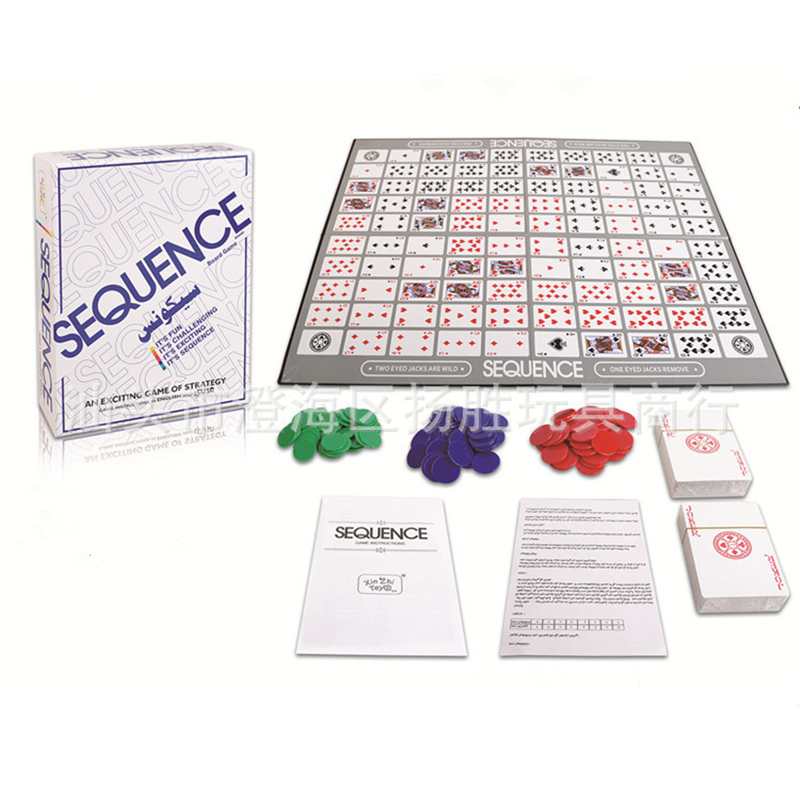 Sequence Game English and Arabic Version 2~12 Players Board Game Family Party Games for Kids and Adults Intellect Toy Best Gifts