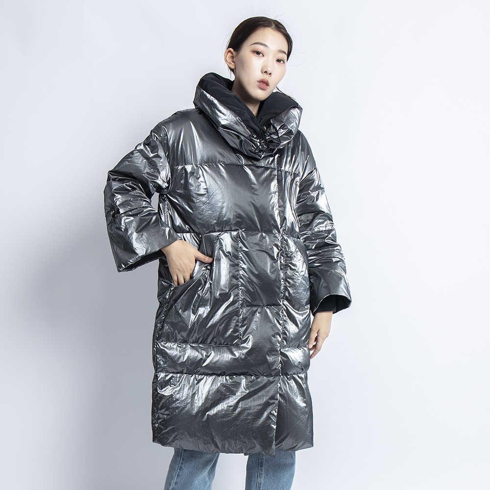 Abrigo de Invierno para Mujer de ganso chaqueta de plata larga gruesa caliente de Mujer Casaco Feminino Abrigos Mujer Invierno Parkas informales