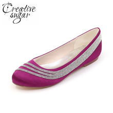 4a05c01ad58f Creativesugar Sparkling rhinestone satin flats woman special design wedding  party prom slip on dress shoes pink