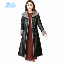 Asian Fashion Leather Woman Trench Coat Long Design Winter Fur Female Luxury Leahter Jacket Outwear Slim Warm Leather Clothing