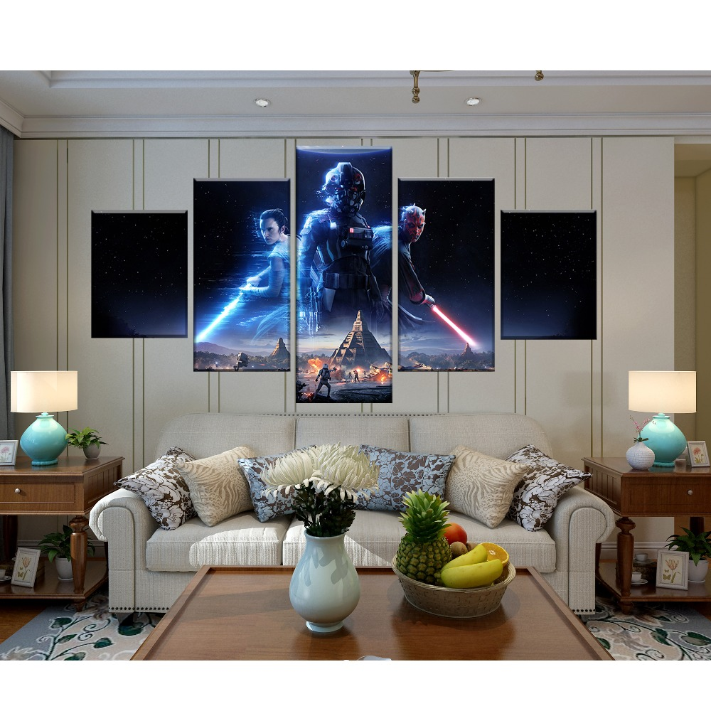 5 Piece Games Art Print Star Wars Battlefront 2 Poster HD Wall Pictures Canvas Art Paintings for Home Decor Wall Art in Painting Calligraphy from Home Garden