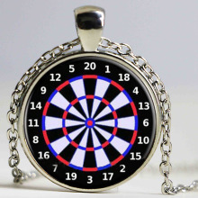 Dart Board Target Pendant Necklace Jewelry Fine Art Necklace Photo Jewelry Glass Pendant Gift HZ1
