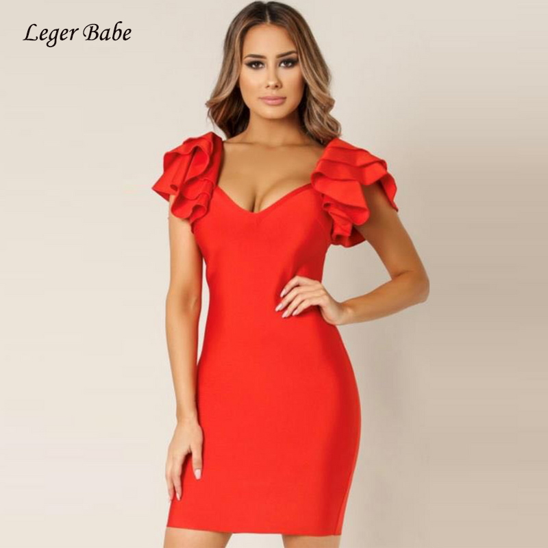 Leger Babe 2018 Fashion Elegant Style Bandage Dress Cascading Ruffle Sleeve V-Neck Sexy Summer Mini Bodycon Dresses Black Red ...