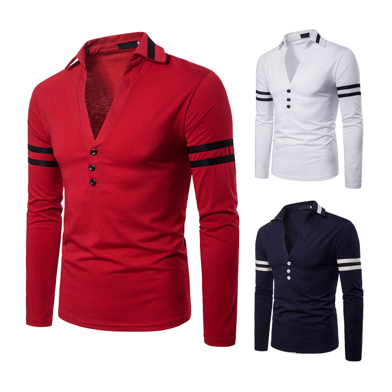 European and American men's clothing autumn and winter solid color body design deep V-shaped design men's Lapel long sleeve POLO