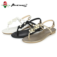Anvenus Women Fashion Cute Sweet Flower T Strap Flat Sandals Genuine Leather Summer Casual Beach Shoes