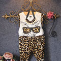 2017 Kids Girls Leopard Print Glasses Cat Tops  shirt with Pants 2pcs Outfits 2 to 6Y