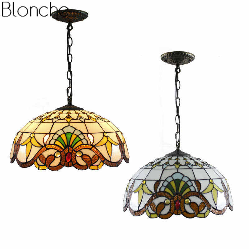 Tiffany Baroque Pendant Lights Stained Glass Lamp Light
