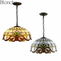 Tiffany Baroque Pendant Lights Stained Glass Lamp Light Fixtures Mediterranean Hanglamp Vintage Luminaire for Kitchen Home Decor
