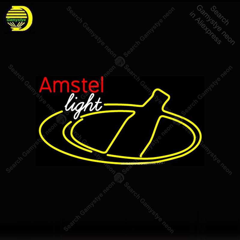 Neon Sign for Amstel Light Bottle Beer Neon Bulb sign handcraft Beer bar pub glass neon signboard Decorate Hotel restaurant image