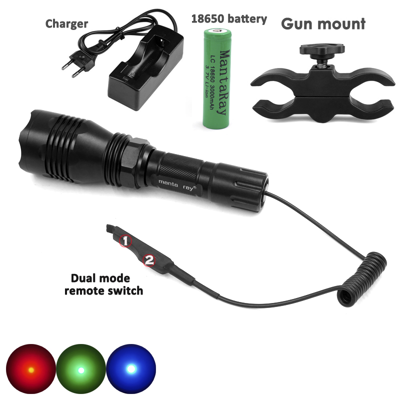 HS 802 Professional Waterproof Red Green Light LED Hunting Flashlight ON OFF Mode Light Remote Switch