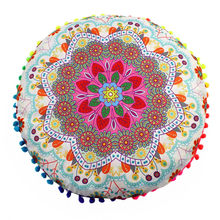 Gajjar 2019 Baru 43*43 Cm India Mandala Lantai Bantal Bulat BoHo Bantal Bantal Case Bantal Tekstil Sarung Bantal dropship(China)