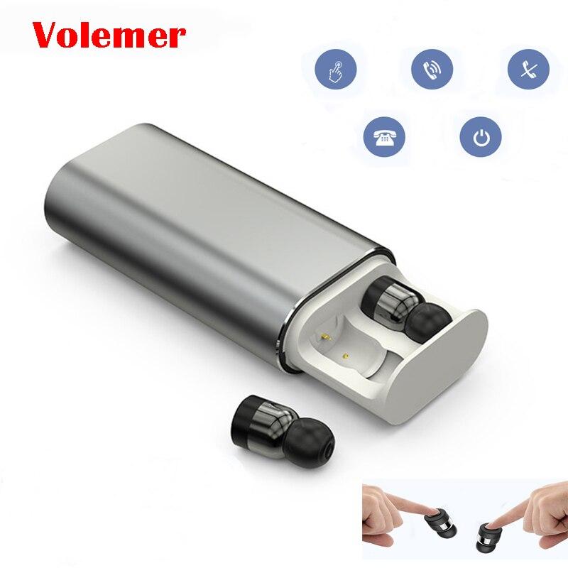 Volemer TWS T10 jumeaux sans fil écouteurs Bluetooth écouteur stéréo Mini écouteur 2000 mAh batterie externe pour téléphone Sport avec Microphone