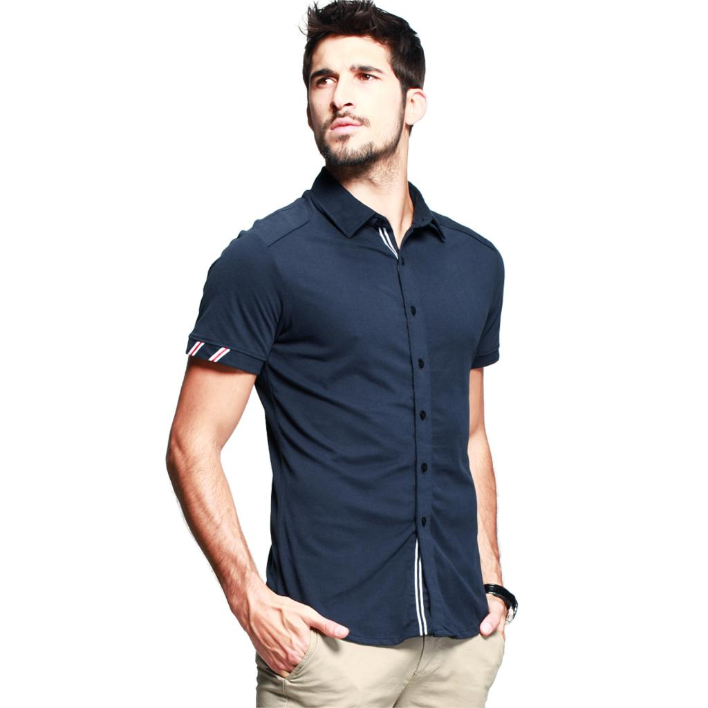 2015 Camisa Jeans Chemise Homme Camisa Men's Solid Color Short ...