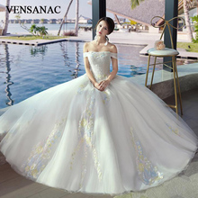 VENSANAC 2018 Boat Neck Lace Flowers Appliques Ball Gown Wedding Dresses Off The Shoulder Backless Bridal Gowns