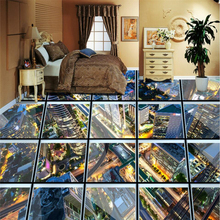 beibehang Glass corridor city 3D floor tiles painting custom large mural pvc waterproof thickened to wear papel de parede free shipping custom magnificent waterfall 3d floor sticker painting non slip wear waterproof floor wallpaper mural