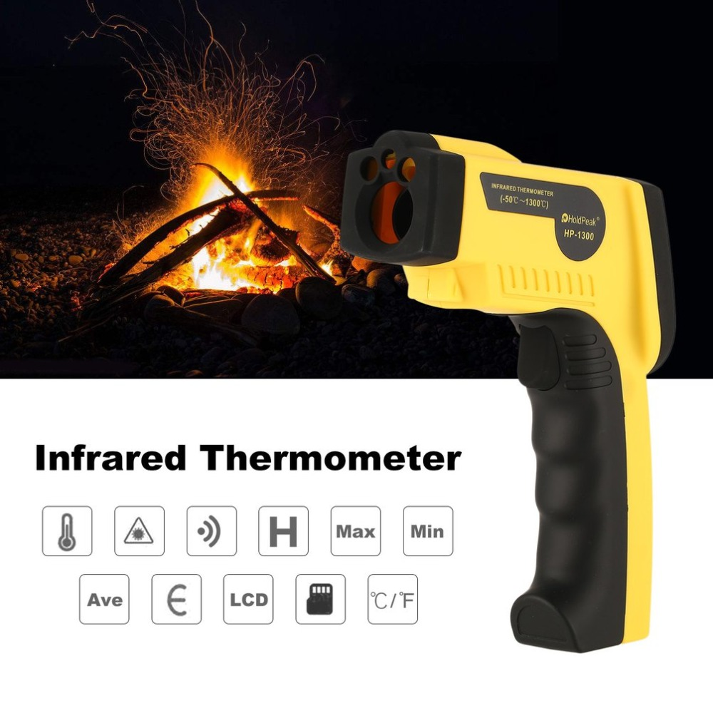 HoldPeak HP-1300 Digital LCD Handheld Infrared Thermometer Temperature Meter Tester Red Laser Non Contact IR Pyrometer Gun 50 600c 50 400c handheld non contact ir infrared thermometer digital lcd laser pyrometer temperature meter with backlight