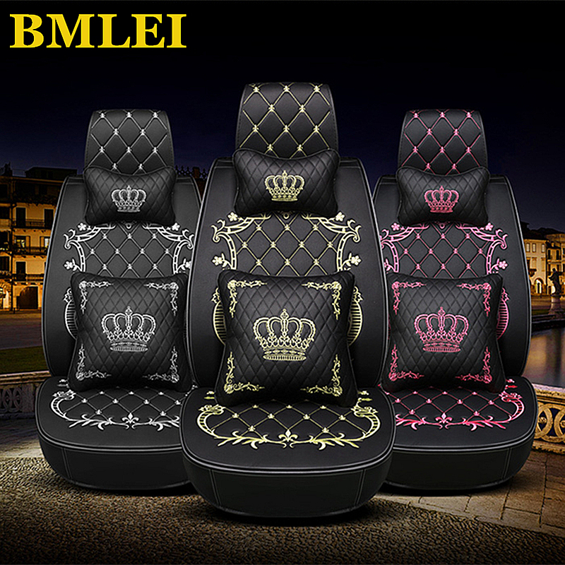 Leather Front Back Car Seat Cover Set Crown Auto Interior Seat Cushion Accessories Universal Car Styling