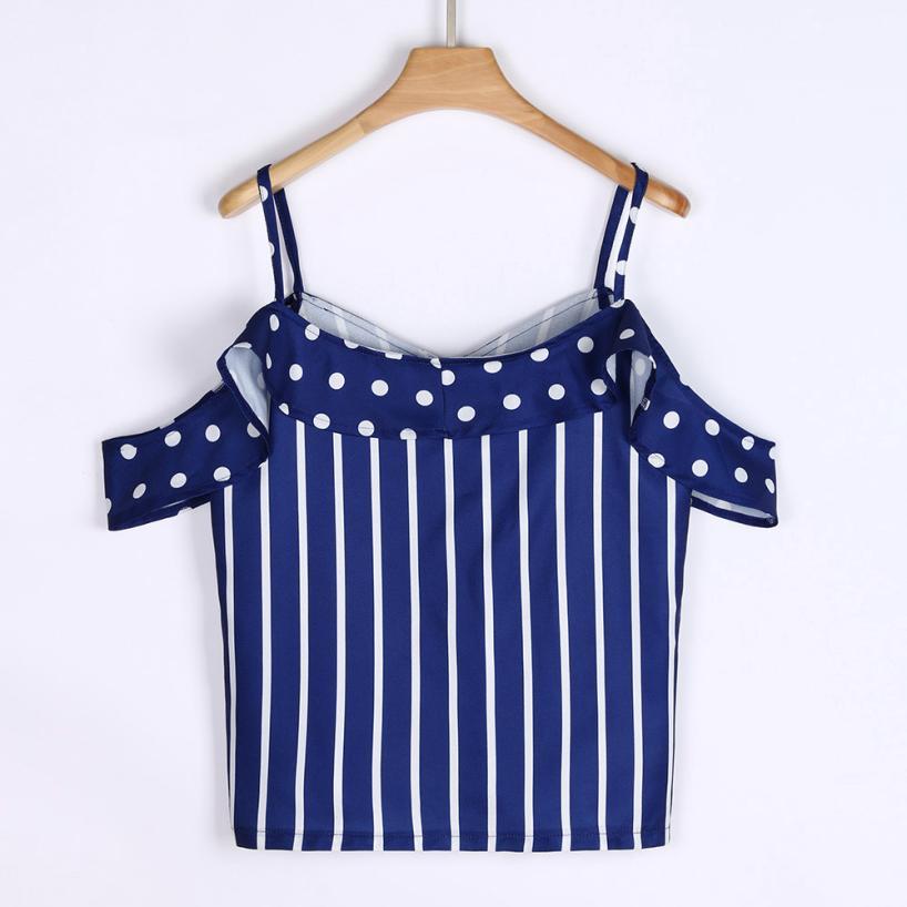 CHAMSGEND Women Dot Strappy Summer Linen Off Shoulder Sexy Ruffles Tank Top Drop Shipping 1M14
