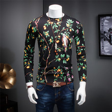 New Autumn And Winter Men Quality Fashion Mercerizing Sweater Knitted Sweaters Black Printing Pattern Male Slim Casual Clothes