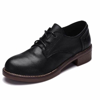 Genuine Leather Flat Shoes Women Handmade Color Matching High Quality Leather Shoes Vintage Classic Style Shoes