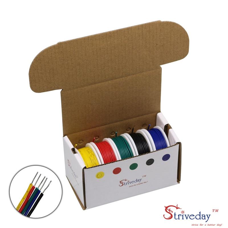 40 meteros/caja UL 1007 22AWG 5 Kit de mezcla de colores 26,2 pies/rollo sólido Cable eléctrico PVC línea de Cable DIY
