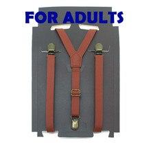ZHIAO винтажные прочные подтяжки 1,5 см ширина мужские/женские искусственная Синтетическая кожа подтяжки Y Back 3 зажима черный коричневый красный Бордовый