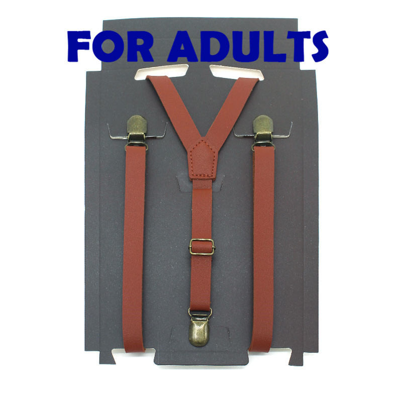 ZHIAO Vintage Solid Braces 1.5cm Width Mens/women Pu Synthetic Leather Suspenders Y Back 3 Clips Black Brown Red Claret