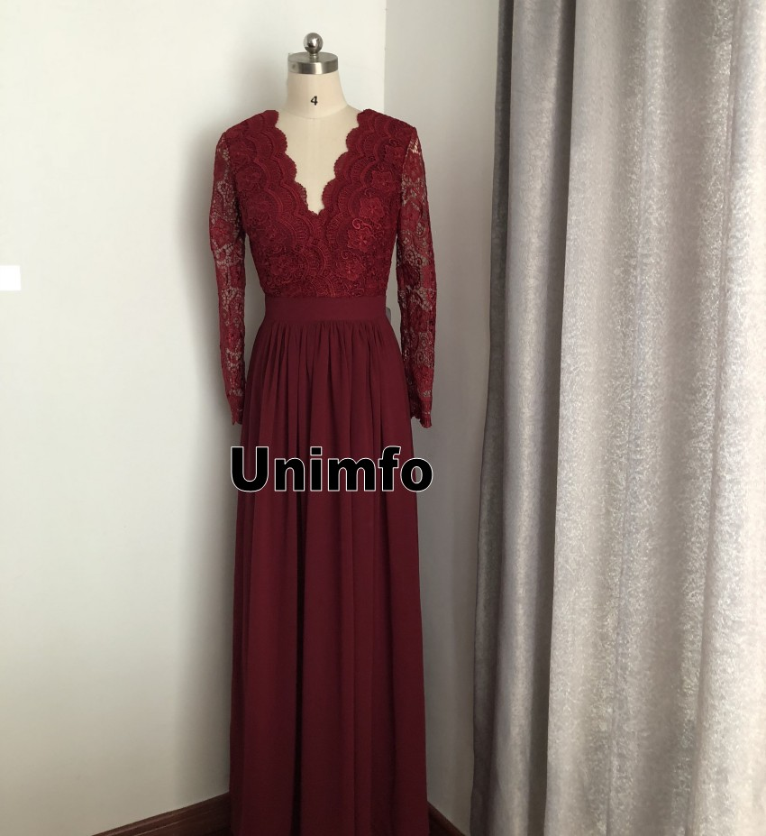 2019 Burgundy Chiffon Bridesmaid Dresses Long Sleeves Country Style V Neck  Backless Long Beach Lace Top Party Dress Real Image-in Bridesmaid Dresses  from ... 20df7cda6447