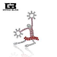 Rhinestone Cheerleader Lapel Pin Handmade Jewelry FREE SHIPPING