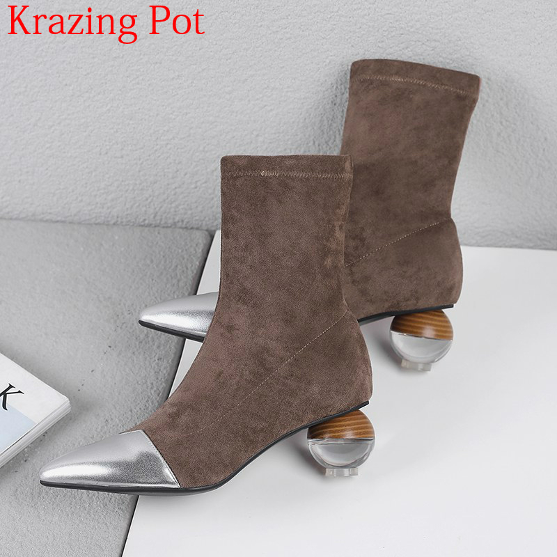 2019 New Superstar Cow Leather Strange Style Velvet Shoes Pointed  Toe Stretch Boots Crystal High Heels Luxury Chelsea Boots L82Ankle  Boots