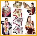 NUEVO 2017 90x90 cm satén de Seda Cuadrado más el tamaño de las mujeres de moda Marca Bufanda de Seda Imitado bufandas Del Mantón Hijab NO. 60-80 SC0271