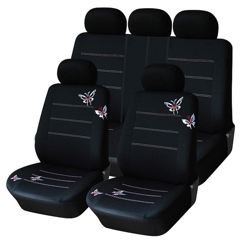 Black Embroidered Car Seat Covers Set Car Seat Covers Full Set Universal Fit Interior Split Bench Cover