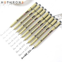 Hethrone 1PC Pigment Liner Micron Ink Marker Pen Soft Brush Drawing Painting Pen art Markers Black Fineliner Sketching Pens new soft brush fineliner calligraphy twin marker black ink drawing sketch brush marker pen arts supplies