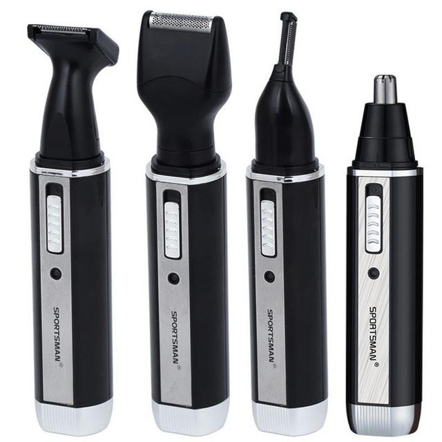 4 In 1 Personal Stainless Steel Nose Hair Trimmer Cleaner Grooming Remover For Nose Ear Face Tragi Hair Shaving Scissors