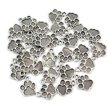 30pcsLot Antique Silver Metal Dog Paw Print Footprint Charms Pendant for Necklace Bracelet Jewelry Making Findings DIY Craft jewelry making