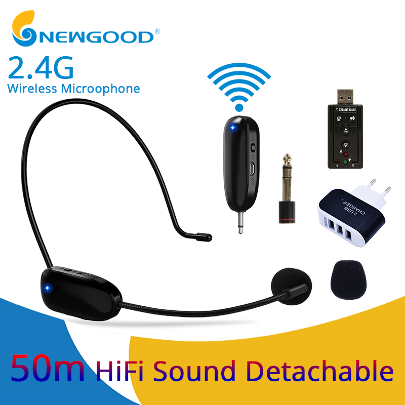 Professional Mini 2.4G Wireless Microphone Systems Speech Headset Megaphone Mic For Computer PC Loudspeaker Teaching Tour Guide
