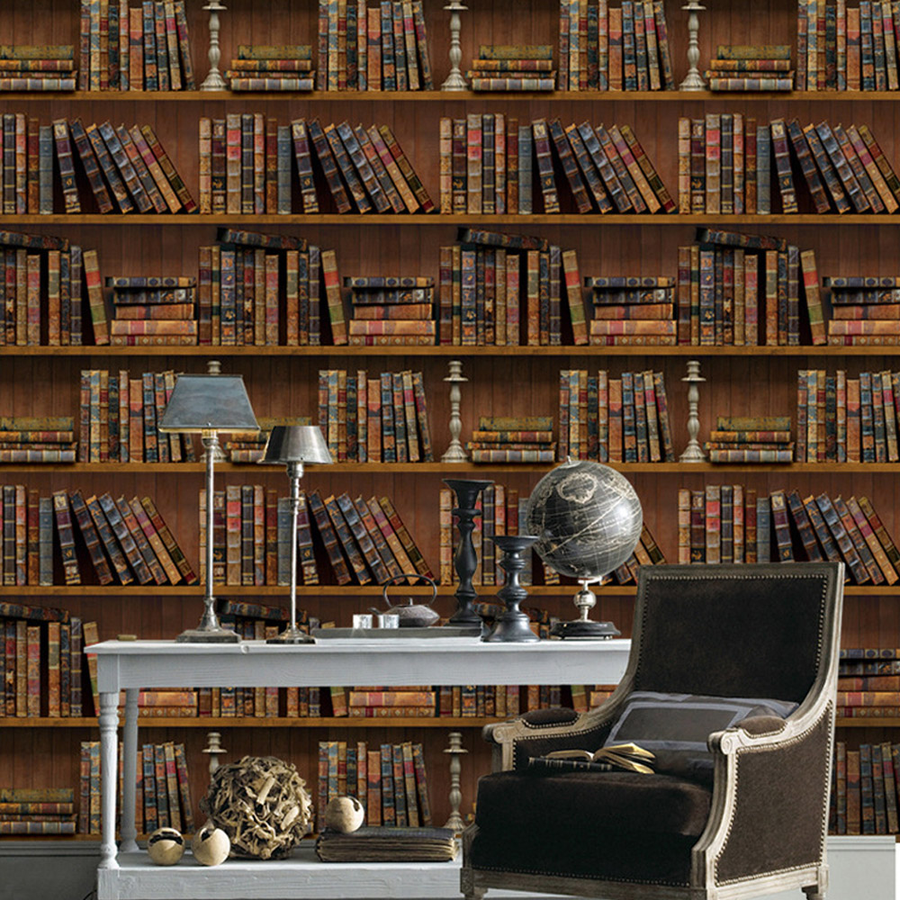 10M Vinyl PVC Removable Wallpaper Creative Vintage Bookshelf Wall Covering Stickers Self Adhesive for Kids Room Decoration