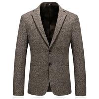 MarKyi 2018 winter blazer masculino slim fit good quality wool mens suit jacket blazers plus size 4xl khaki jacket suit men