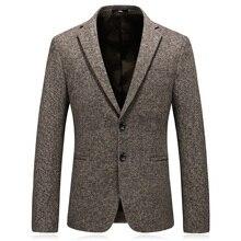 MarKyi 2018 winter blazer masculino slim fit good quality wool mens suit jacket blazers plus size 4xl khaki men