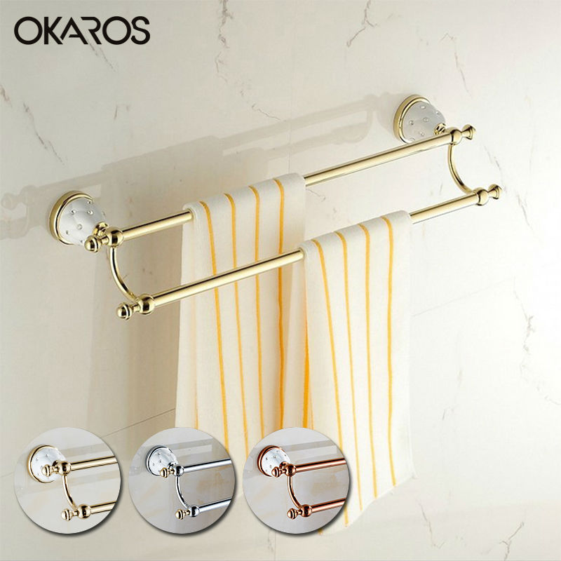 цены OKAROS Bathroom Double Towel Bar(60cm) Towel Rack Towel Holder Solid Brass Golden/Chrome Finish Diamond Decoration Towel Bar