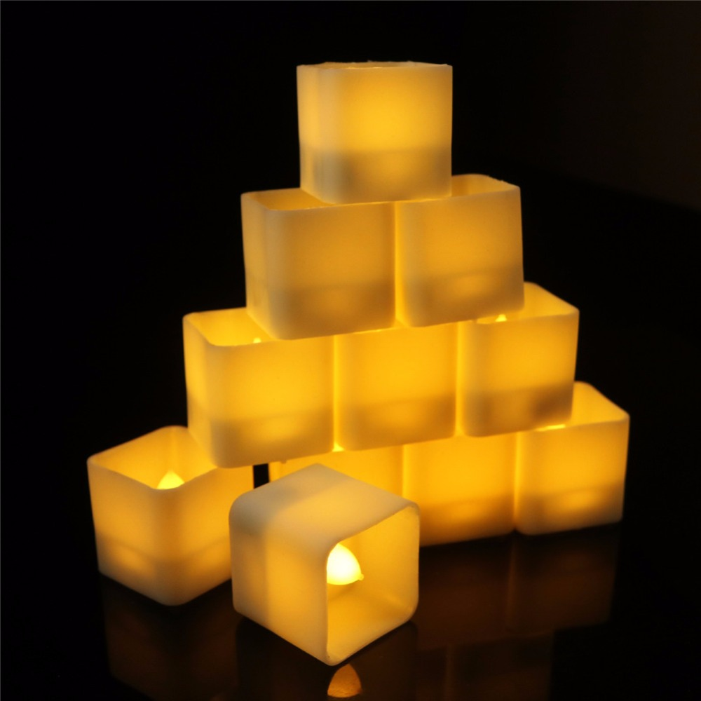 Pack of 6 or 12 pieces Decorative Led Candles With Square Shape,New design Flickering Plastic Flameless Tea lights For Christmas