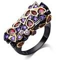 DC1989 New Designer Exclusivo da Sela Forma Cubic Zirconia Anéis Para As Mulheres Ametista & Sião Ajuste da Moldura de Ouro & Black banhado
