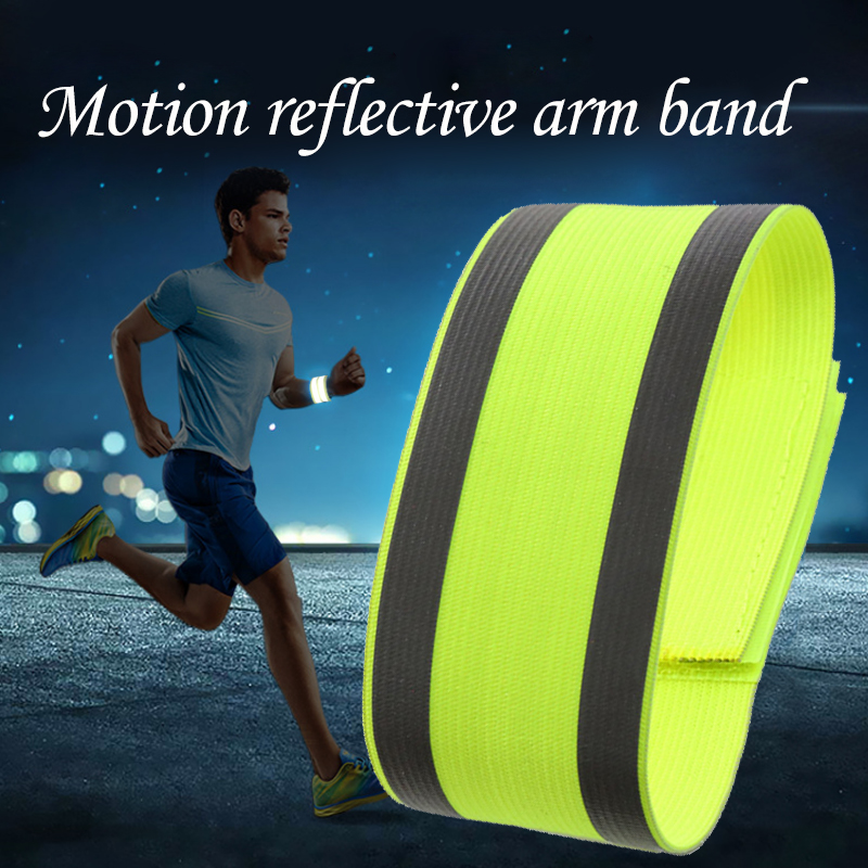 Yellow High Visibility Night Reflective Safety Belt Run Armband For Outdoor Sports Night Running Cycling Arm Strap Band On Sell цена