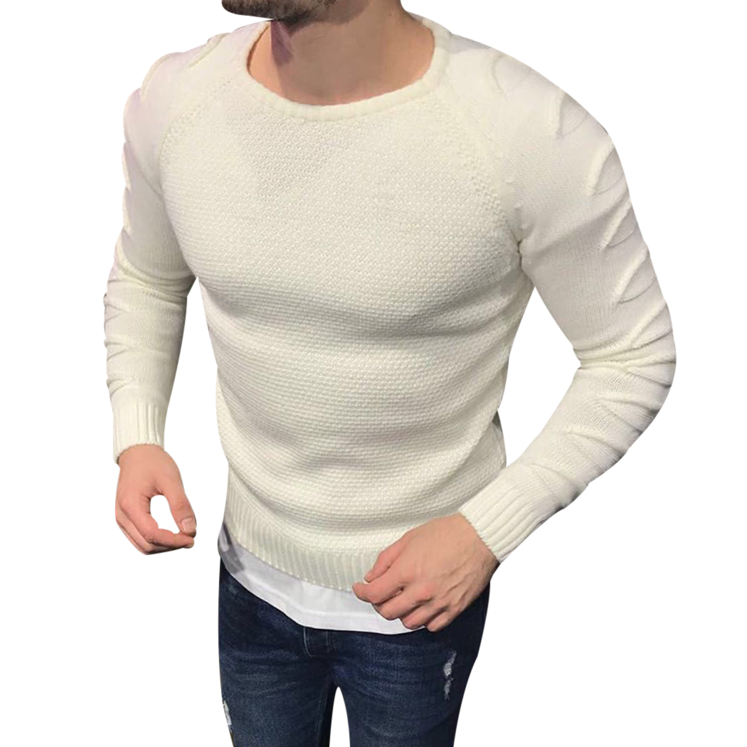 New Autumn Winter Men Sweater White Knitted Pullover Mens Round Neck Patchwork Hole Sweaters Fashion Slim Fit Male Black Jumper