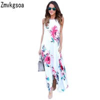 Zmvkgsoa Women Floral Print Pocketed Holiday Boho Dress Casual Lady High Low Slit Style Sleeveless Maxi Dresses For Girs V615610
