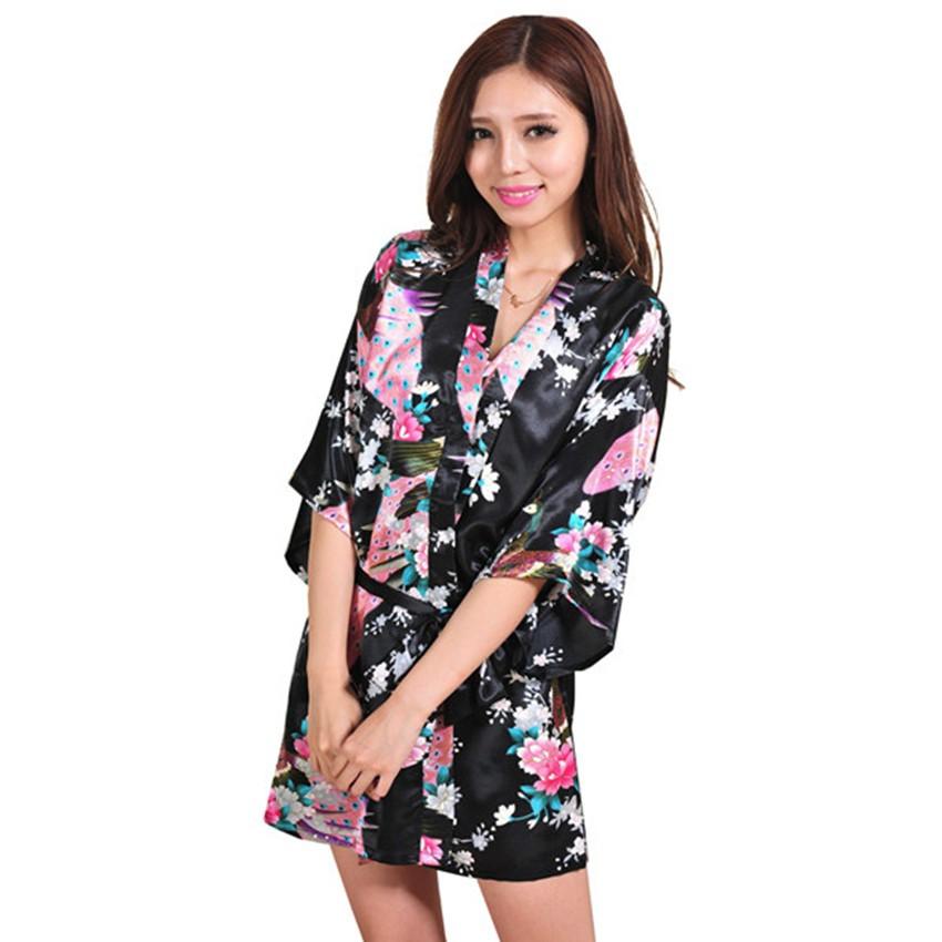 New-Arrival-Black-Chinese-Women-Silk-Rayon-Mini-Robe-Sexy-Kimono-Bath-Gown-Charming-Intimate-Lingerie