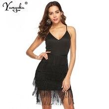 купить Sexy V Neck Backless summer dress women Night club party Dress elegant black Sheath tassel wrap bodycon dress vestidos wholesale по цене 1066.2 рублей